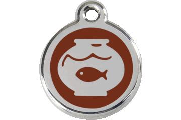 Red Dingo Médaillon en émail Fish Bowl Marron 01-FB-BR (1FBBRS)
