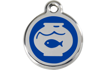 Red Dingo Enamel Tag Fish Bowl Dark Blue 01-FB-DB (1FBNS)