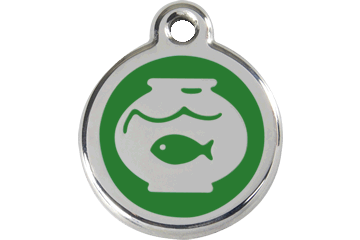 Red Dingo Enamel Tag Fish Bowl Green 01-FB-GR (1FBGS)