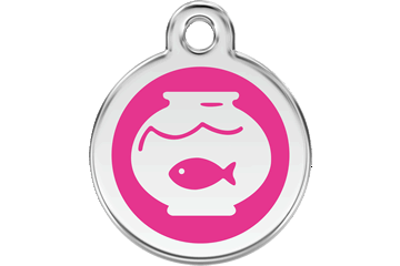 Red Dingo Enamel Tag Fish Bowl Hot Pink 01-FB-HP (1FBHPS)