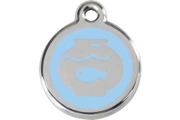 Red Dingo Enamel Tag Fish Bowl Light Blue 01-FB-LB (1FBLBS)