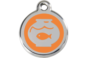 Red Dingo Enamel Tag Fish Bowl Orange 01-FB-OR (1FBOS)