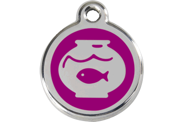Red Dingo Enamel Tag Fish Bowl Purple 01-FB-PU (1FBPS)