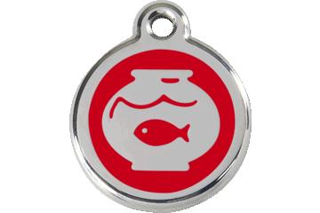 Red Dingo Médaillon en émail Fish Bowl Rouge 01-FB-RE (1FBRS)