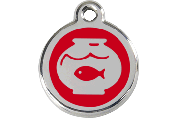 Red Dingo Enamel Tag Fish Bowl Red 01-FB-RE (1FBRS)