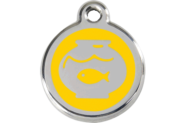Red Dingo Enamel Tag Fish Bowl Yellow 01-FB-YE (1FBYS)