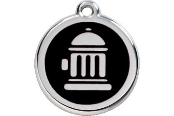 Red Dingo Tiermarke mit Emaille Fire Hydrant Schwarz 01-FH-BB (1FHBS / 1FHBM / 1FHBL)
