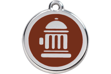 Red Dingo Enamel Tag Fire Hydrant Brown 01-FH-BR (1FHBRS / 1FHBRM / 1FHBRL)