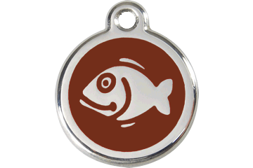 Red Dingo Enamel Tag Fish Brown 01-FI-BR (1FIBRS)