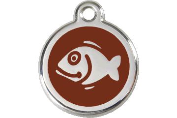 Red Dingo Enamel Tag Fish Brown 01-FI-BR (1FIBRS)