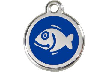 Red Dingo Enamel Tag Fish Dark Blue 01-FI-DB (1FINS)