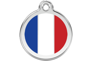 Red Dingo Enamel Tag French Flag White 01-FR-WT (1FRWS / 1FMWM / 1FRWL)