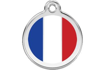 Red Dingo Médaillon en émail French Flag Blanc 01-FR-WT (1FRWS / 1FRWM / 1FRWL)