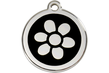 Red Dingo Enamel Tag Flower Black 01-FW-BB (1FWBS / 1FWBM / 1FWBL)