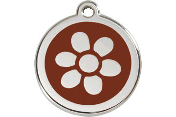 Red Dingo Enamel Tag Flower Brown 01-FW-BR (1FWBRS / 1FWBRM / 1FWBRL)