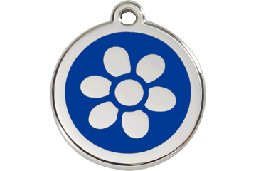 Red Dingo Enamel Tag Flower Dark Blue 01-FW-DB (1FWNS / 1FWNM / 1FWNL)