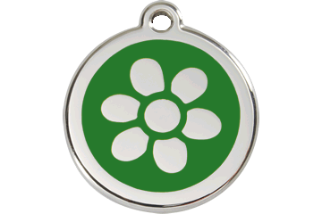 Red Dingo Enamel Tag Flower Green 01-FW-GR (1FWGS / 1FWGM / 1FWGL)