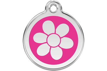 Red Dingo Enamel Tag Flower Hot Pink 01-FW-HP (1FWHPS / 1FWHPM / 1FWHPL)