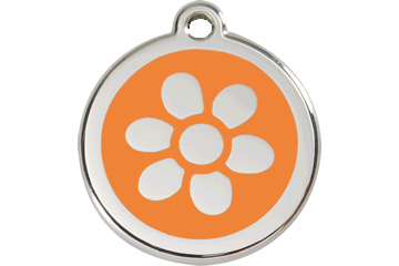 Red Dingo Enamel Tag Flower Orange 01-FW-OR (1FWOS / 1FWOM / 1FWOL)