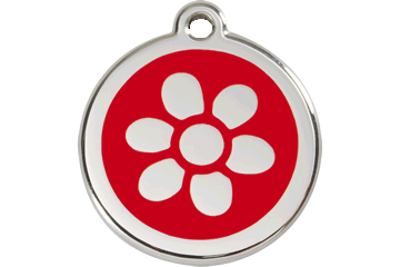 Red Dingo Enamel Tag Flower Red 01-FW-RE (1FWRS / 1FWRM / 1FWRL)