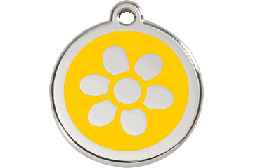 Red Dingo Enamel Tag Flower Yellow 01-FW-YE (1FWYS / 1FWYM / 1FWYL)