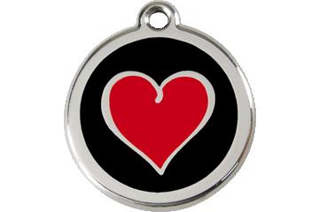 Red Dingo Tiermarke mit Emaille Herz Schwarz 01-HB-BB (1HBBS / 1HBBM / 1HBBL)