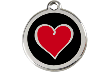Red Dingo Enamel Tag Heart Black 01-HB-BB (1HBBS / 1HBBM / 1HBBL)