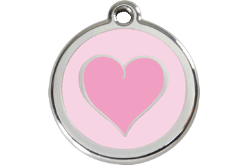 Red Dingo Tiermarke mit Emaille Heart Pink 01-HK-PK (1HKPKS / 1HKPKM / 1HKPKL)