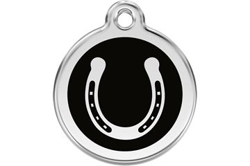 Red Dingo Enamel Tag Horseshoe Black 01-HS-BB (1HSBS / 1HSBM / 1HSBL)