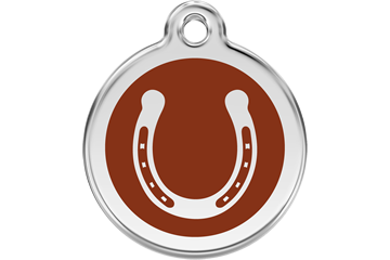 Red Dingo Enamel Tag Horseshoe Brown 01-HS-BR (1HSBRS / 1HSBRM / 1HSBRL)