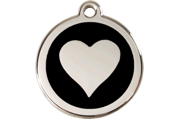 Red Dingo Enamel Tag Heart Black 01-HT-BB (1HTBS / 1HTBM / 1HTBL)