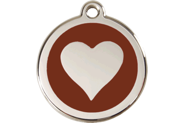 Red Dingo Enamel Tag Heart Brown 01-HT-BR (1HTBRS / 1HTBRM / 1HTBRL)