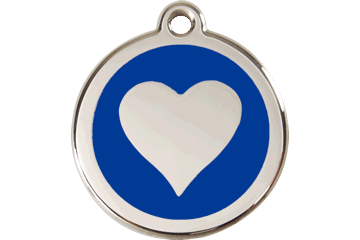 Red Dingo Enamel Tag Heart Dark Blue 01-HT-DB (1HTNS / 1HTNM / 1HTNL)