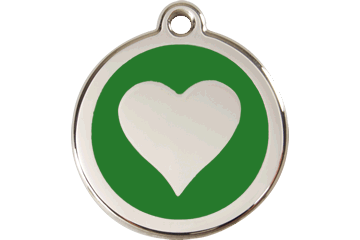 Red Dingo Enamel Tag Heart Green 01-HT-GR (1HTGS / 1HTGM / 1HTGL)