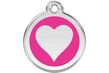 Red Dingo Enamel Tag Heart Hot Pink 01-HT-HP (1HTHPS / 1HTHPM / 1HTHPL)