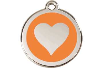 Red Dingo Enamel Tag Heart Orange 01-HT-OR (1HTOS / 1HTOM / 1HTOL)