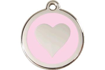 Red Dingo Enamel Tag Heart Pink 01-HT-PK (1HTPKS / 1HTPKM / 1HTPKL)