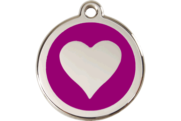 Red Dingo Enamel Tag Heart Purple 01-HT-PU (1HTPS / 1HTPM / 1HTPL)