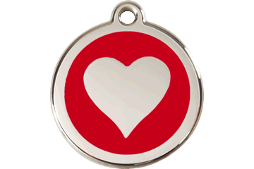 Red Dingo Enamel Tag Heart Red 01-HT-RE (1HTRS / 1HTRM / 1HTRL)