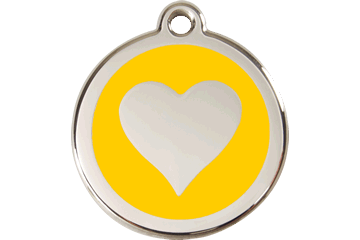 Red Dingo Enamel Tag Heart Yellow 01-HT-YE (1HTYS / 1HTYM / 1HTYL)