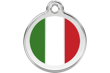 Red Dingo Enamel Tag Italian Flag White 01-IT-WT (1ITWS / 1ITWM / 1ITWL)