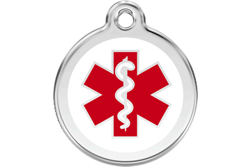 Red Dingo Enamel Tag Medical White 01-MD-WT (1MDWS / 1MDWM / 1MDWL)