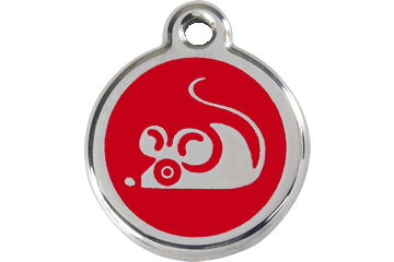 Red Dingo Enamel Tag Mouse Red 01-MS-RE (1MSRS)