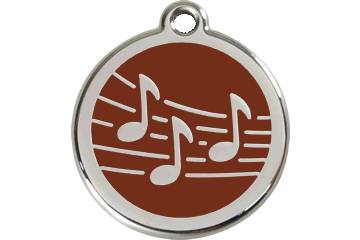 Red Dingo Enamel Tag Music Brown 01-MU-BR (1MUBRS / 1MUBRM / 1MUBRL)
