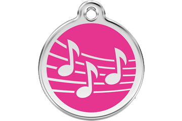 Red Dingo Enamel Tag Music Hot Pink 01-MU-HP (1MUHPS / 1MUHPM / 1MUHPL)