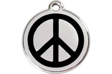 Red Dingo Tiermarke mit Emaille Peace Schwarz 01-PC-BB (1PCBS / 1PCBM / 1PCBL)