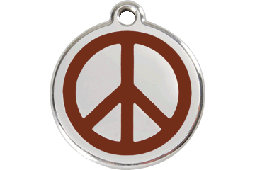 Red Dingo Enamel Tag Peace Brown 01-PC-BR (1PCBRS / 1PCBRM / 1PCBRL)