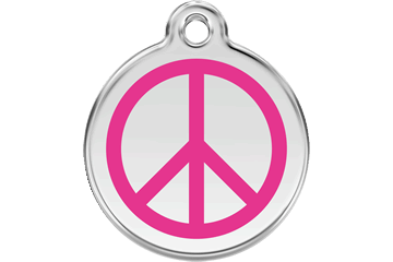 Red Dingo Tiermarke mit Emaille Peace Hot Pink 01-PC-HP (1PCHPS / 1PCHPM / 1PCHPL)