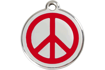Red Dingo Tiermarke mit Emaille Peace Rot 01-PC-RE (1PCRS / 1PCRM / 1PCRL)