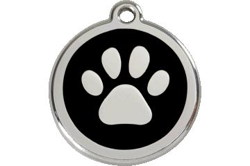 Red Dingo Médaillon en émail Paw Print Noire 01-PP-BB (1PPBS / 1PPBM / 1PPBL)